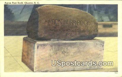 Aaron Burr Rock - Chester, South Carolina SC Postcard