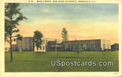 Mack Library, Bob Jones University - Greenville, South Carolina SC Postcard