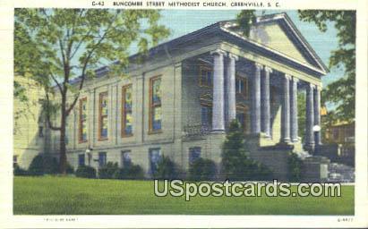 Buncombe Street Methodist Church - Greenville, South Carolina SC Postcard