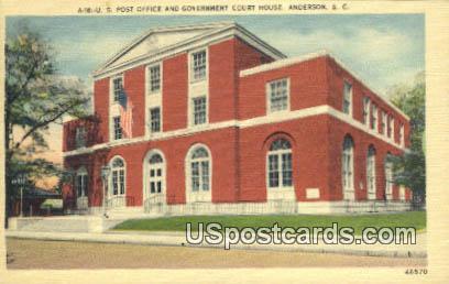 US Post Office - Anderson, South Carolina SC Postcard