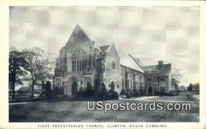 First Presbyterian Church - Clinton, South Carolina SC Postcard