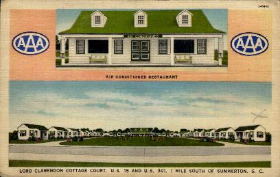 Lord Clarendon Cottage Court - Summerton, South Carolina SC Postcard