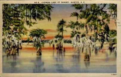 Cypress Lake at Sunset - Sumter, South Carolina SC Postcard