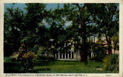 Hillcrest, The Historical Anderson Home - Sumter, South Carolina SC Postcard