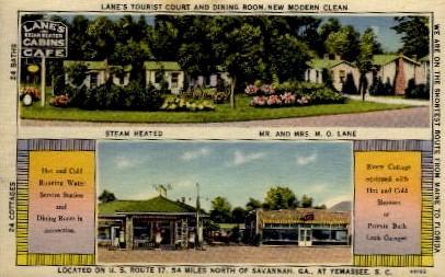 Lane's Tourist Court and Dining Room - Yemassee, South Carolina SC Postcard