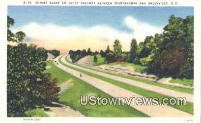 Super Highway, Spartanburg - Greenville, South Carolina SC Postcard
