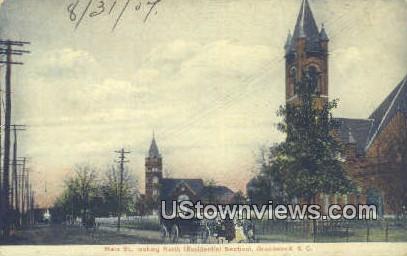 Main Street - Greenwood, South Carolina SC Postcard