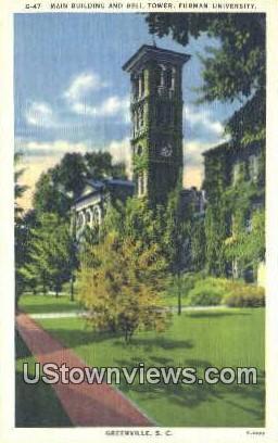 Main Bldg, Bell Tower, Furman University - Greenville, South Carolina SC Postcard