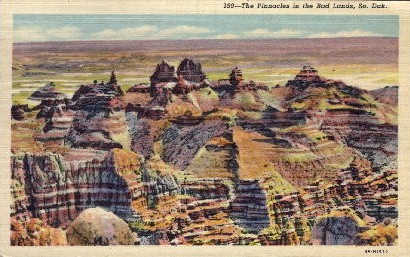 The Pinnacles, Badland National Monument - Bad Lands, South Dakota SD Postcard