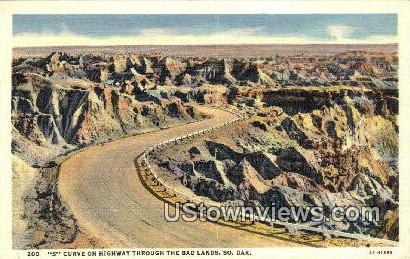 S Curve, Highway - Badlands, South Dakota SD Postcard
