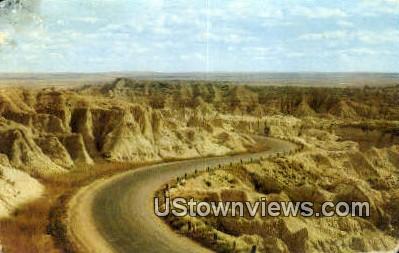 S Curve, Highway - Badlands National Monument, South Dakota SD Postcard