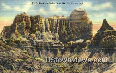 Castle Rock, Cedar Pass - Badlands, South Dakota SD Postcard