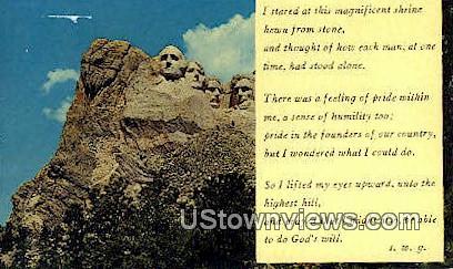 Mt. Rushmore Memorial - Mount Rushmore, South Dakota SD Postcard