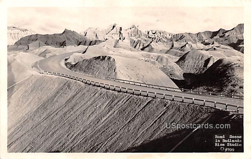 Road Scene - Badlands, South Dakota SD Postcard