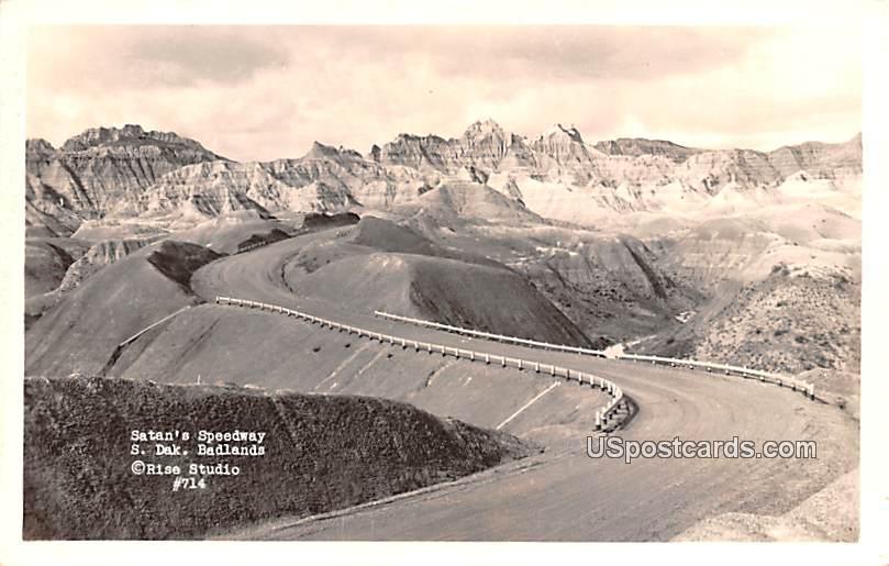 Satan's Speedway - Badlands, South Dakota SD Postcard