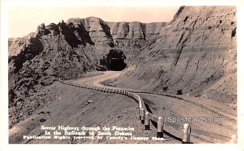 Scenic Highway through the Pinnacles - Badlands, South Dakota SD Postcard