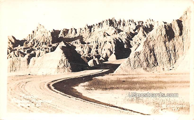 Entering Dinosaur Playground - Badlands, South Dakota SD Postcard