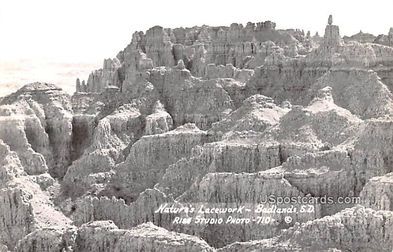 Unidentified Location+10484:10488 - Badlands, South Dakota SD Postcard