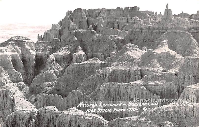 Nature's Lacework - Badlands, South Dakota SD Postcard