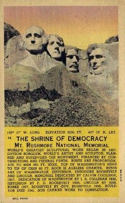 The Shrine of Democracy - Mount Rushmore, South Dakota SD Postcard
