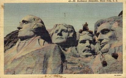 Mount Rushmore Memorial - South Dakota SD Postcard