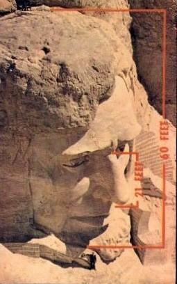 Face of Abraham Lincoln, Mt. Rushmore National Memorial - Mount Rushmore, South Dakota SD Postcard