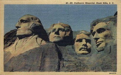 Close up view of Mount Rushmore - South Dakota SD Postcard