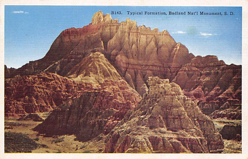 Painted Castles in the Badlands - Misc, South Dakota SD Postcard