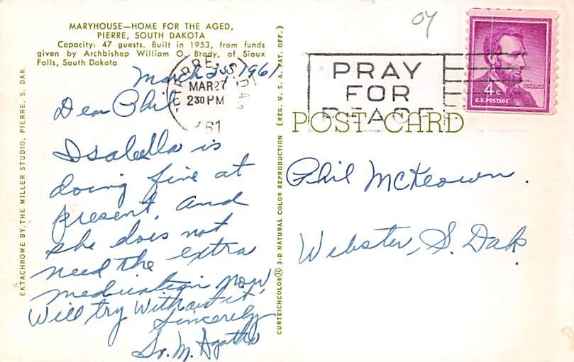Saint Johns Hospital - Huron, South Dakota SD Postcard