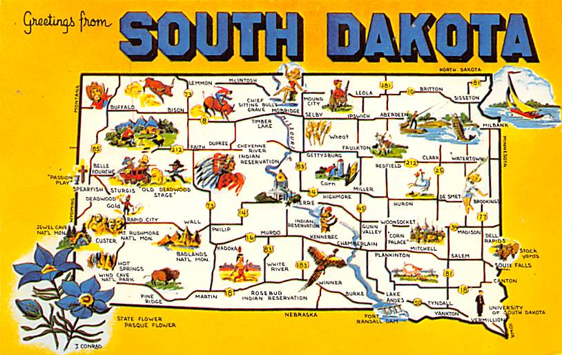 Balanced Rock & the Palisades - Sioux Falls, South Dakota SD Postcard