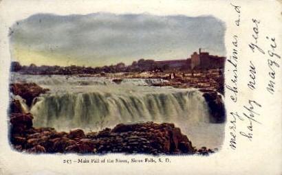 Main Fall of the Sioux - Sioux Falls, South Dakota SD Postcard