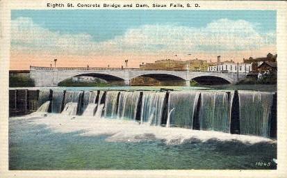 Eighth St.Concrete Bridge and Dam - Sioux Falls, South Dakota SD Postcard