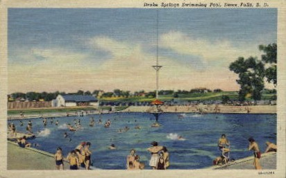 Drake Springs Swimming Pool - Sioux Falls, South Dakota SD Postcard