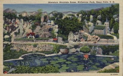 Miniature Mountain Scene, McKennan Park - Sioux Falls, South Dakota SD Postcard