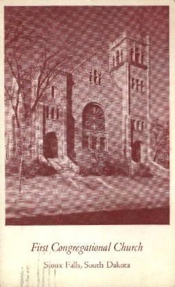 First Congregational Church - Sioux Falls, South Dakota SD Postcard