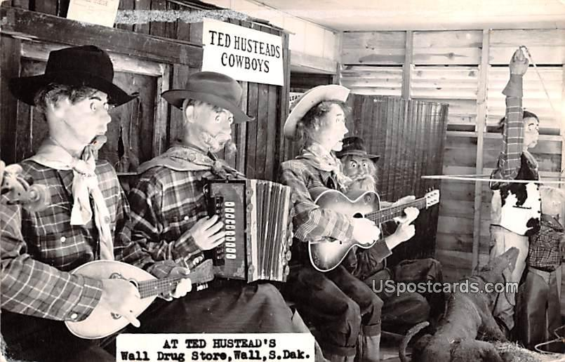 At Ted Husteads, Cowboys - Wall, South Dakota SD Postcard