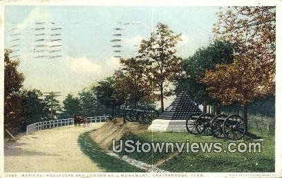 National Blvd, Cannon Ball Monument - Chattanooga, Tennessee TN Postcard