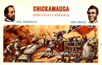 Gen Rosecrans, Gen Bragg - Chattanooga, Tennessee TN Postcard