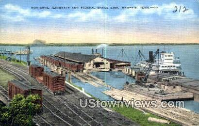 Municipal Terminals and Federal Barge  - Memphis, Tennessee TN Postcard