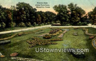 Flower Beds Along Speedway - Memphis, Tennessee TN Postcard