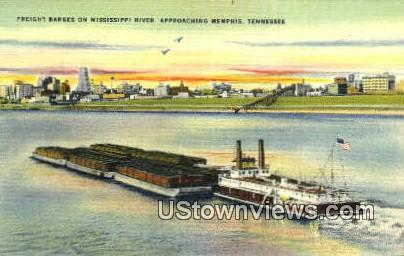 Freight Barges On Mississippi River  - Memphis, Tennessee TN Postcard