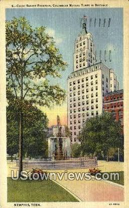 Court Square Fountain Columbia Mutual Tower - Memphis, Tennessee TN Postcard