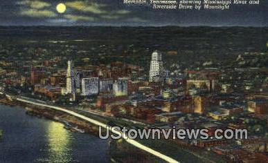Mississippi River By Night  - Memphis, Tennessee TN Postcard