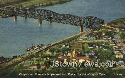 Memphis and Harrahan Bridges - Tennessee TN Postcard