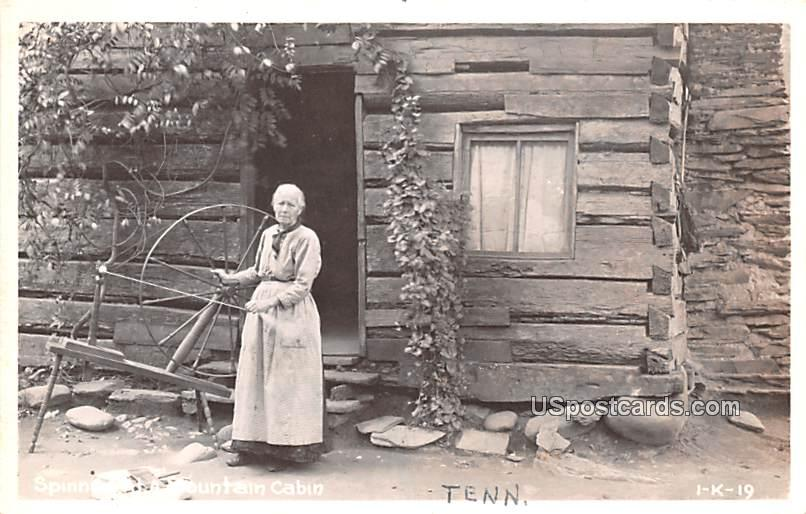 Spinning at a Mountain Cabin - Misc, Tennessee TN Postcard