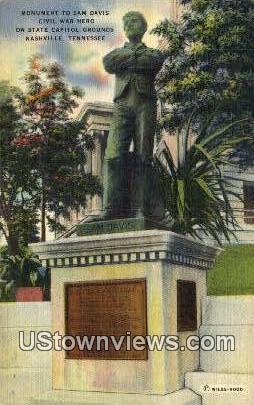 Monument to Sam Davis - Nashville, Tennessee TN Postcard