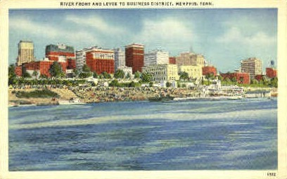 River Front & Levee  - Memphis, Tennessee TN Postcard