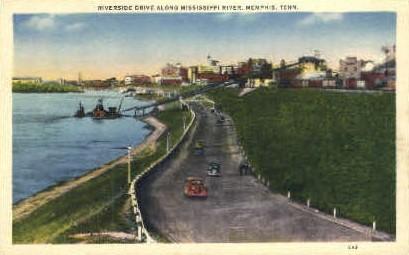 Riverside Drive Along Mississippi River - Memphis, Tennessee TN Postcard