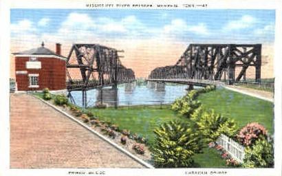 Mississippi River Bridges - Memphis, Tennessee TN Postcard