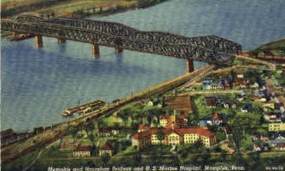 Harrahan Bridges & U.S. Marine Hospital  - Memphis, Tennessee TN Postcard